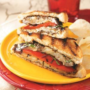 Grilled Eggplant Pepper Sandwiches