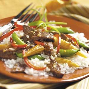 Gingered Beef and Red Peppers Stir Fry