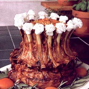 Pork Crown Roast with Apricot Apple Stuffing