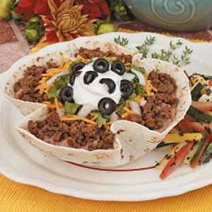 Taco Salad with Baked Shells