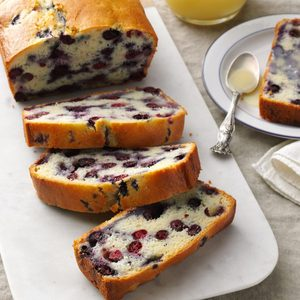 Blueberry Quick Bread with Vanilla Sauce
