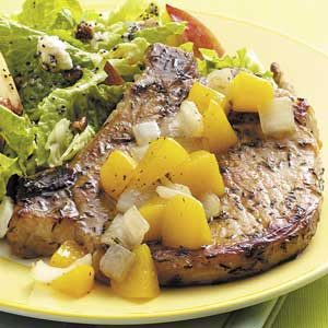 Peach-Topped Pork Chops