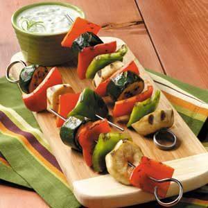 Veggie Kabobs with Gingered Yogurt