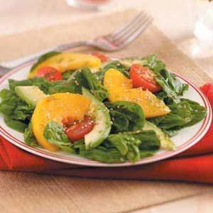 Avocado-Peach Spinach Salad
