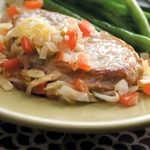 Pork Chops with Cabbage 'n' Tomato