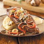 Italian Strip Steaks with Focaccia