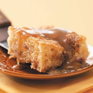 Rhubarb Coffee Cake with Caramel Sauce
