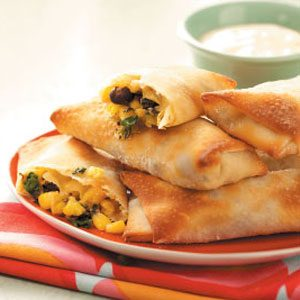 Spinach & Black Bean Egg Rolls