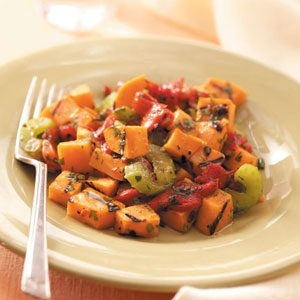 Grilled Sweet Potato and Red Pepper Salad