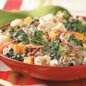 Festive Broccoli-Cauliflower Salad