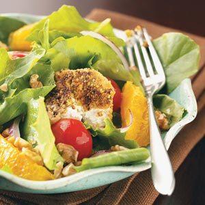 Salads with Pistachio-Crusted Goat Cheese