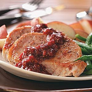 Cranberry-Kissed Pork Chops For 2