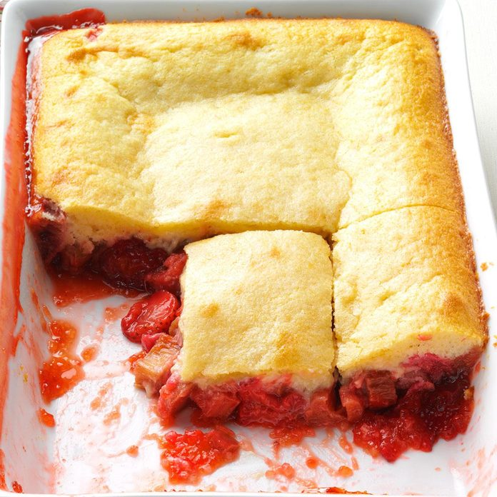 Strawberry-Rhubarb Flip Cake