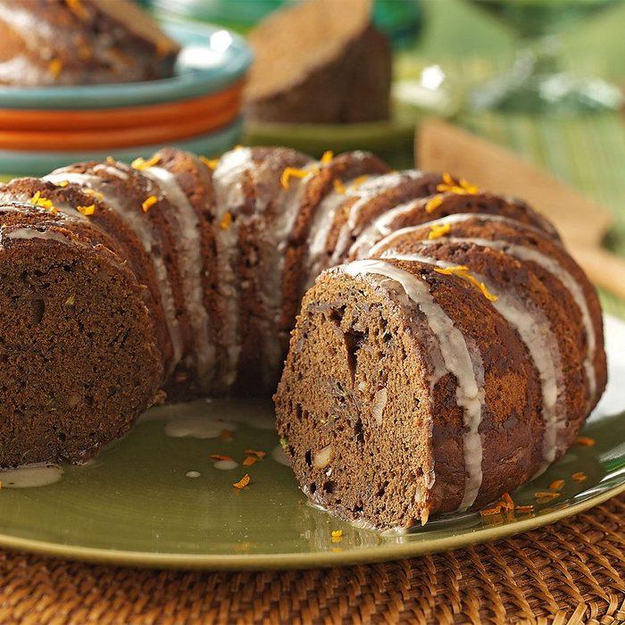 Zucchini Chocolate Cake with Orange Glaze