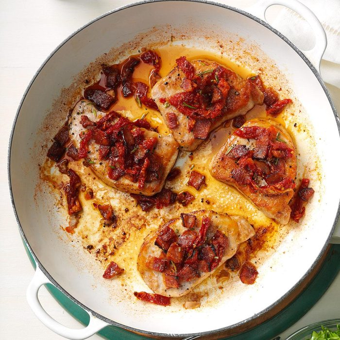 Pork Chops with Tomato-Bacon Topping