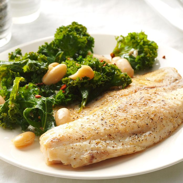 Garlic Tilapia with Spicy Kale