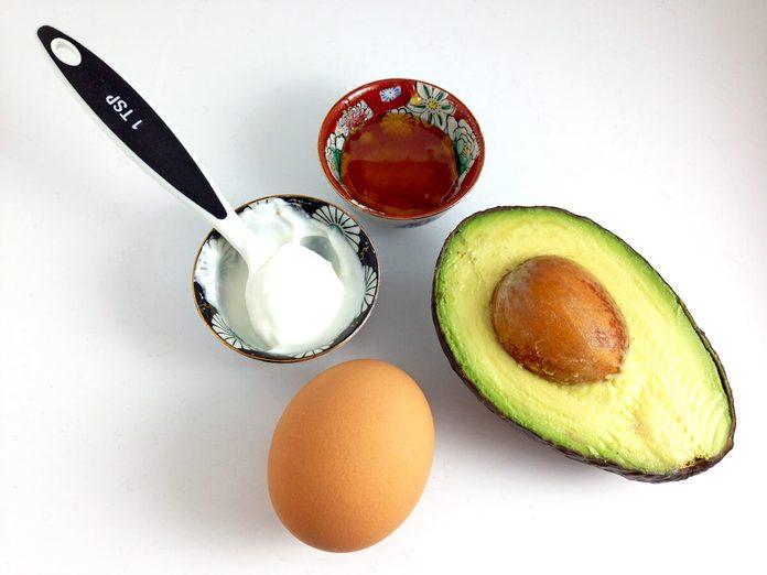 DIY face mask ingredients, avocado, egg, yogurt, honey