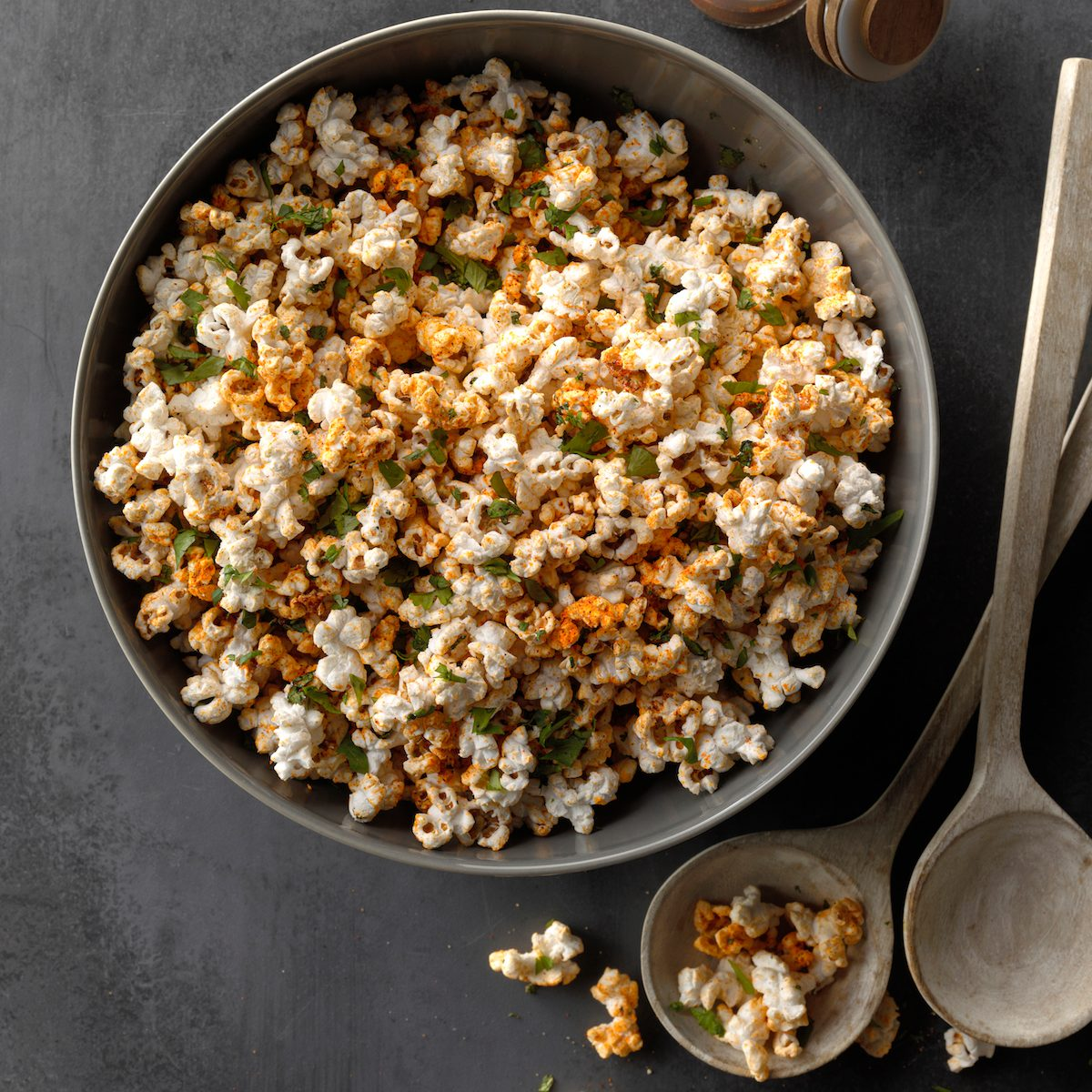 A bowl of seasoned homemade stovetop popcorn.
