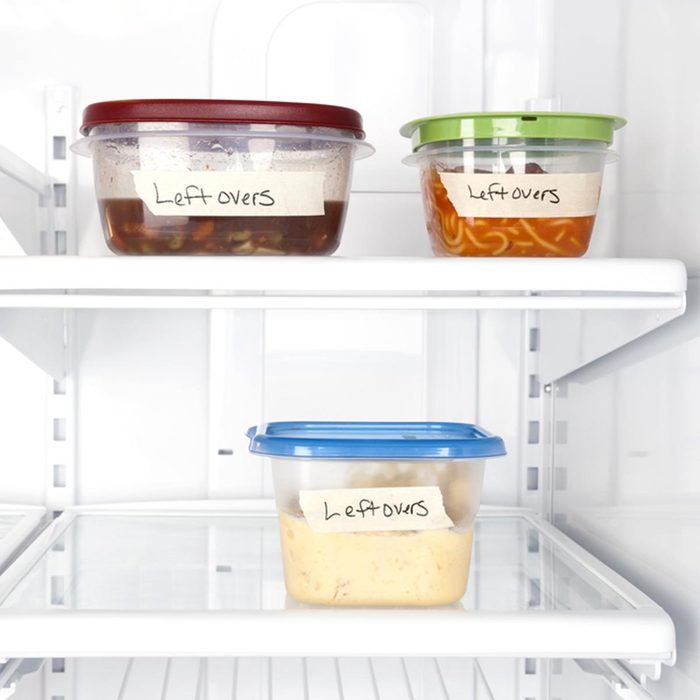 Leftover containers of food in a refrigerator for use with many food inferences.; Shutterstock ID 66906010
