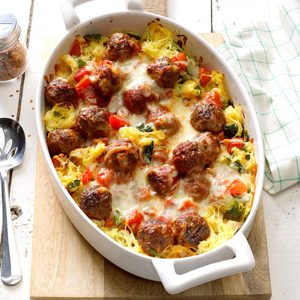 Spaghetti Squash Meatball Casserole