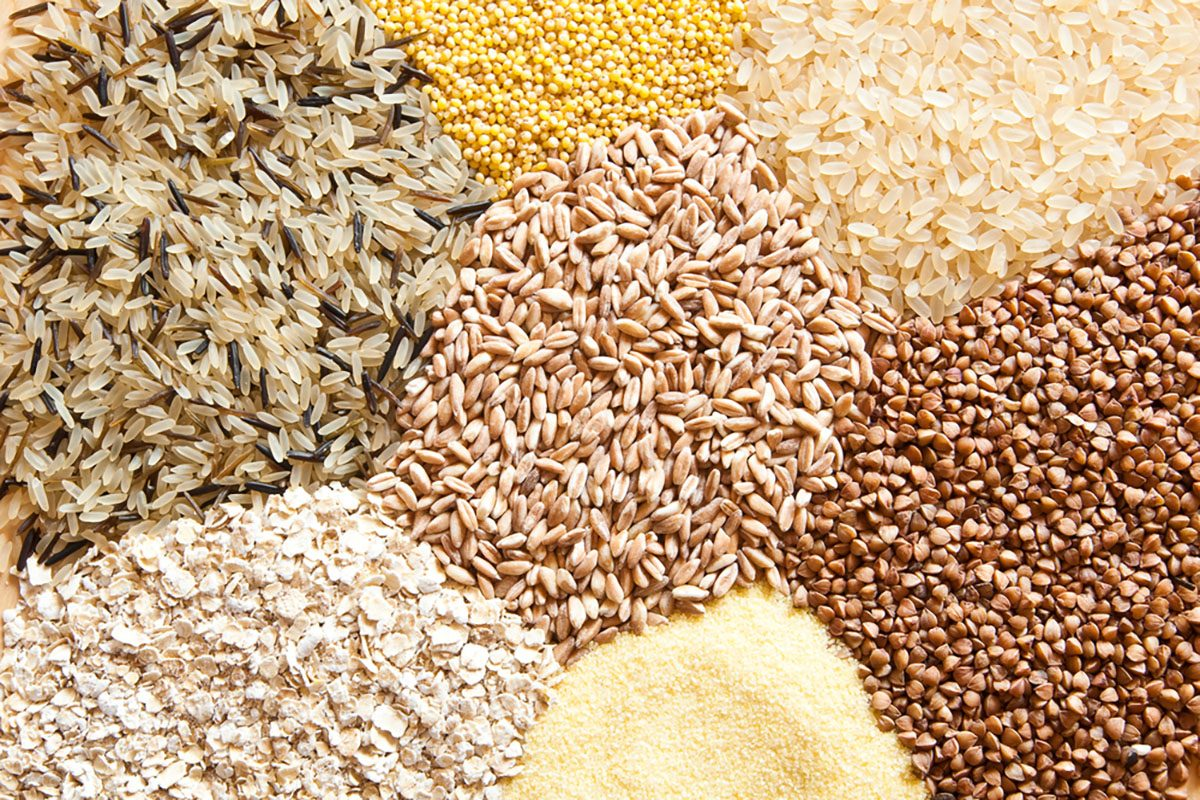 Different kinds of cereals: oats, millet, rice, buckwheat, wheat, spelt