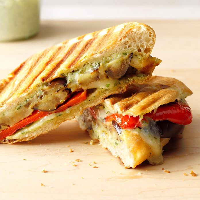 Grilled Eggplant Panini with Basil Aioli