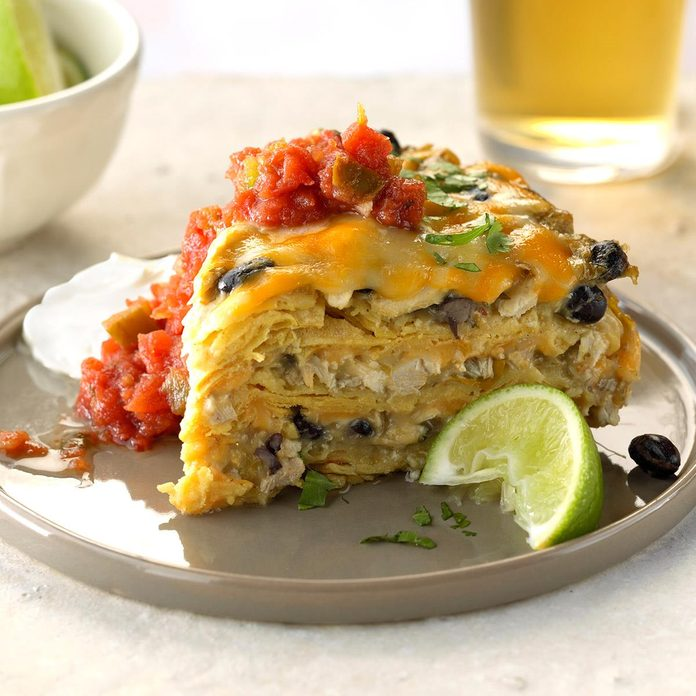 Slow-Cooker Green Chile Chicken Enchilada Pie