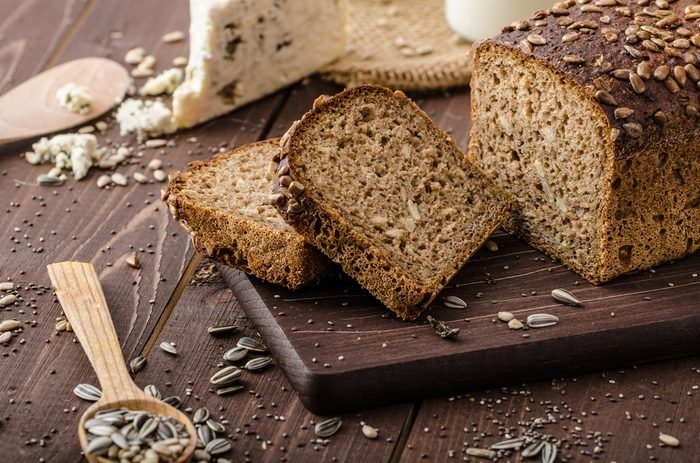 Whole wheat bread baked at home, bio ingredients, very healthy with seeds