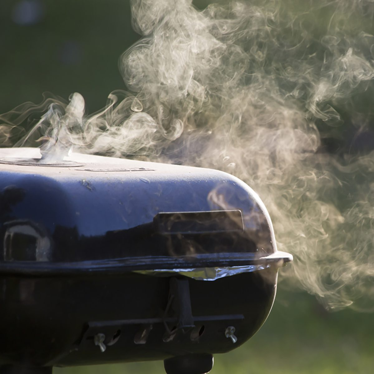 Smoke from closed grill