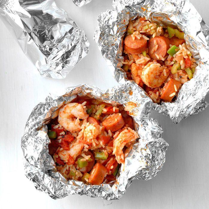Foil-Packet Shrimp and Sausage Jambalaya