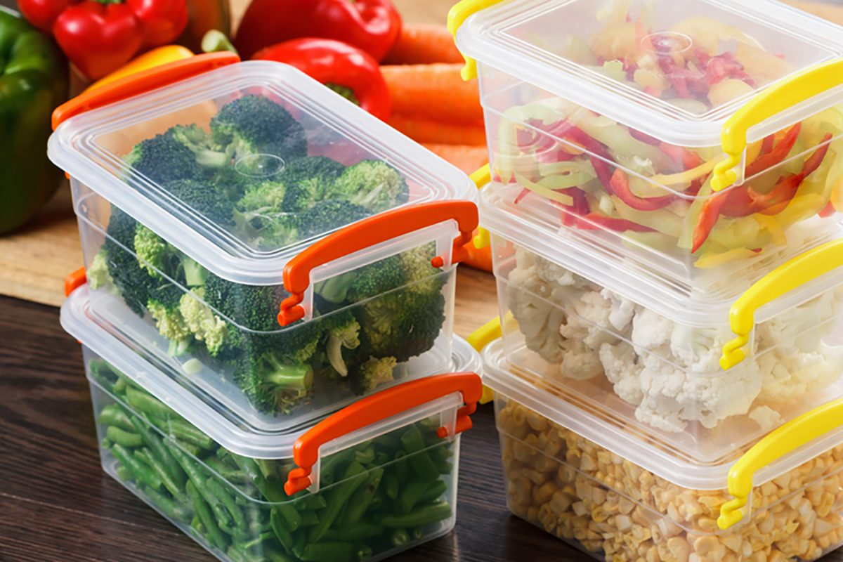 Meal prep in colorful containers