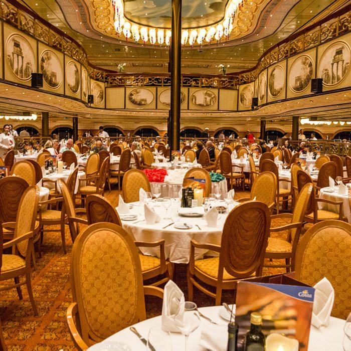 Interior of restaurant dinner hall of cruiise liner Costa Mediterranea