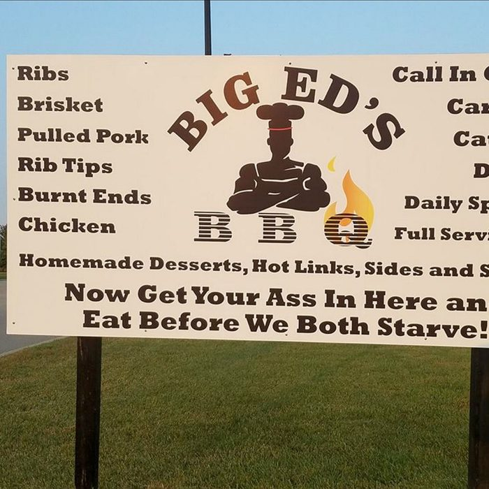 Sign for Big Ed's BBQ