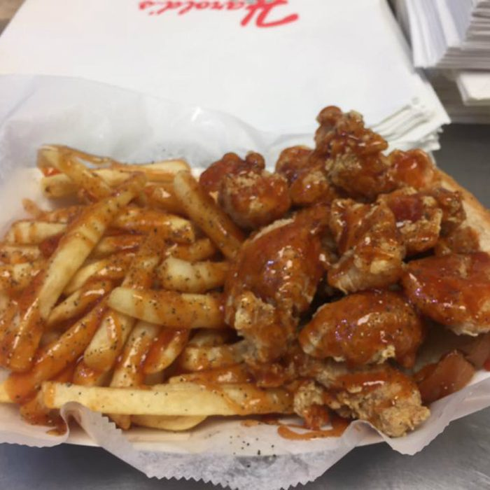 Harold's Chicken's fried chicken with a huge helping of fries