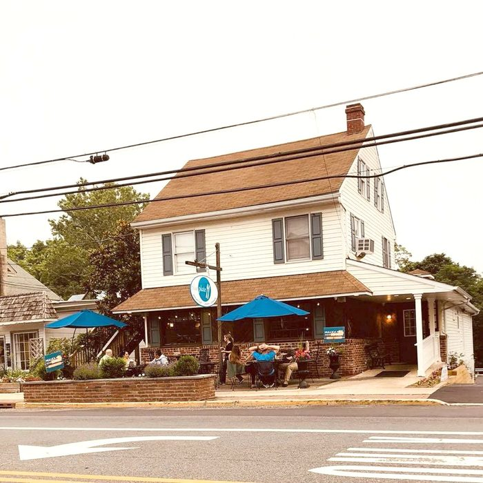 Outside of the Blue Plate restaurant