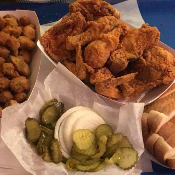 Eischen's fried chicken with sliced pickles
