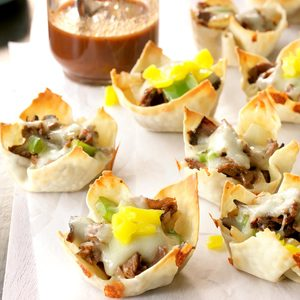 Philly Cheesesteak Won Ton Cups