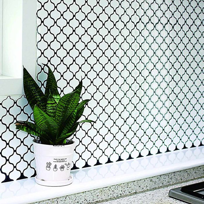 Tic Tac Tiles Anti-Mold Peel and Stick Wall Tile in Damask White