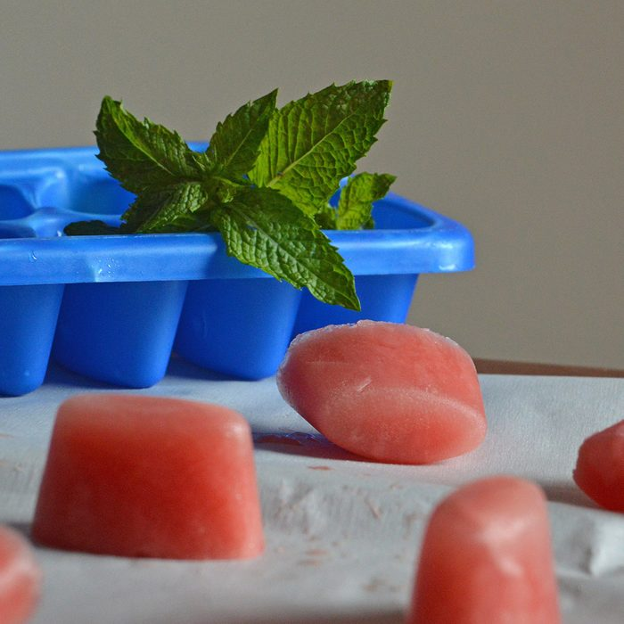 Watermelon line ice cubes with mint