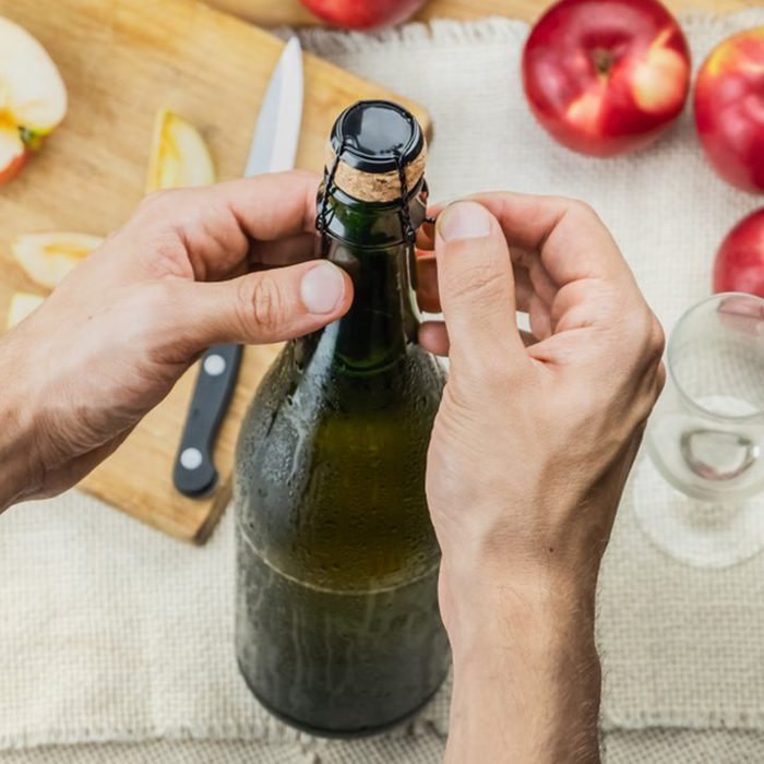 Wine bottle and apples