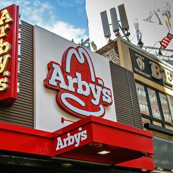 Sign above an Arby's restaurant in Manhattan.