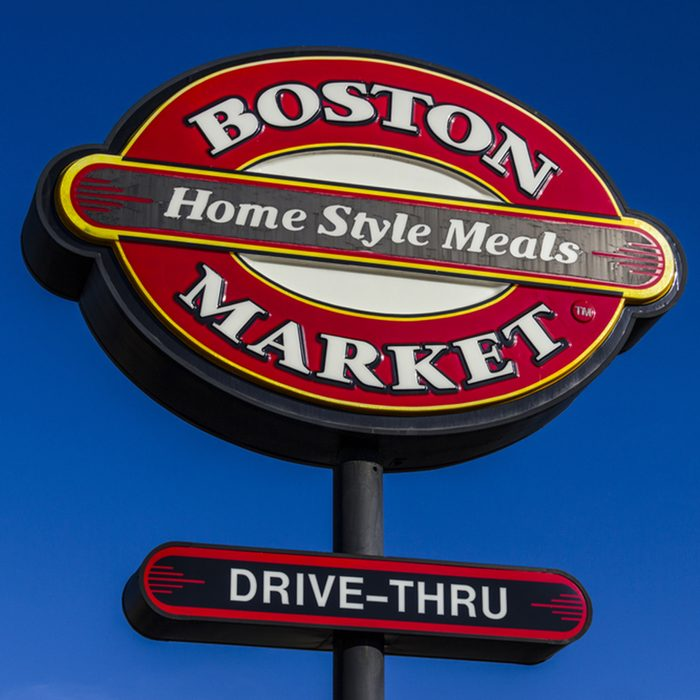 Logo and Signage of a Boston Market Fast Casual Restaurant.