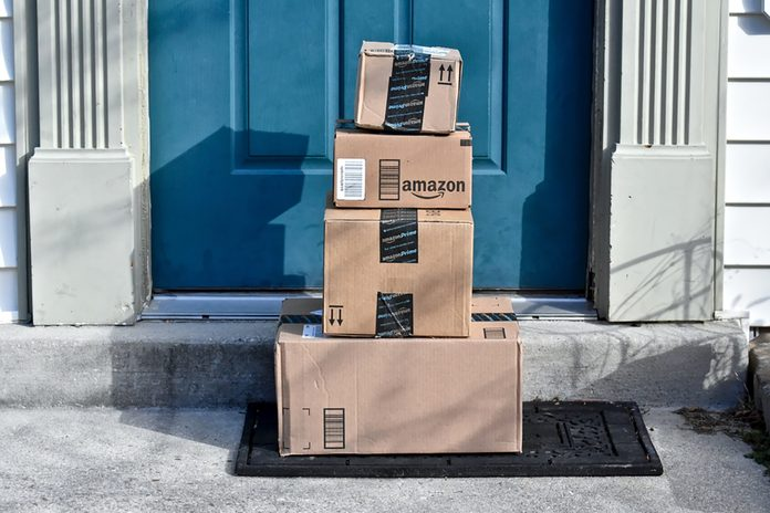 Image of an Amazon package. Amazon is the largest Internet-based retailer in the United States.