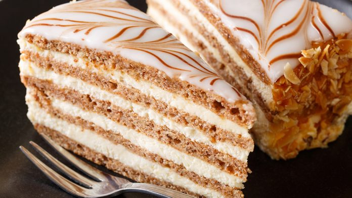 Beautiful Hungarian Esterhazy cake on a plate closeup. horizontal ; Shutterstock ID 670039927; Job (TFH, TOH, RD, BNB, CWM, CM): TOH