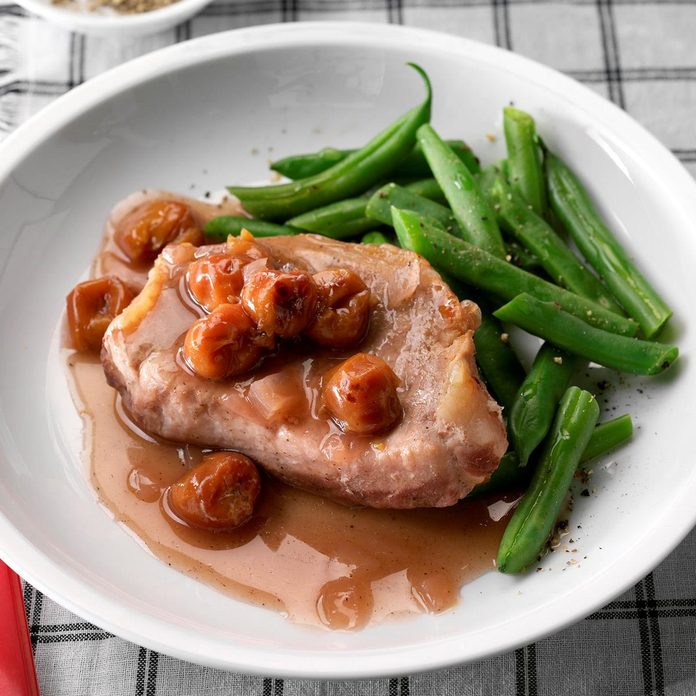 Pressure-Cooker Sweet Onion and Cherry Pork Chops
