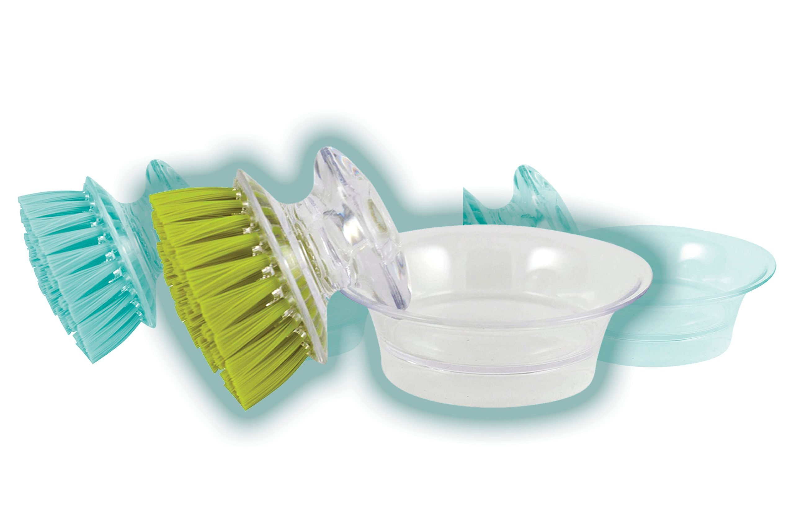 Casabella Shiny Mini Brush Scrubber with Holder, Colors Vary, 3-scrubbers TKP