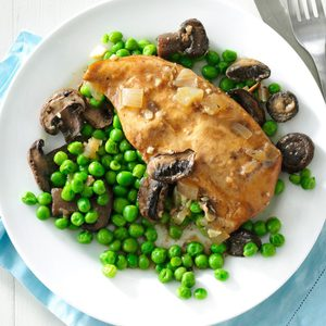Pressure-Cooker Mushroom Chicken and Peas