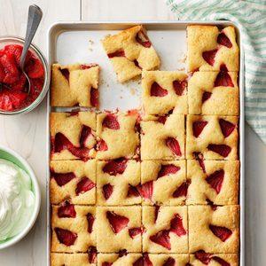 Roasted Strawberry Sheet Cake
