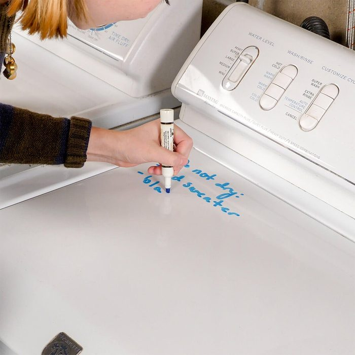 writing notes on washing machine