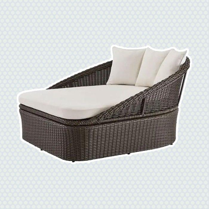best patio furniture Hampton Bay 2 Person Gray Wicker Outdoor Patio Daybed